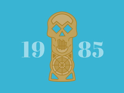 Goonies Skeleton Key Icon serif typography blue icon design illustration vector goonies