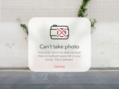 Camera Error Pop-Up Message 016 dailyui ui design camera popup error photo image ios dank