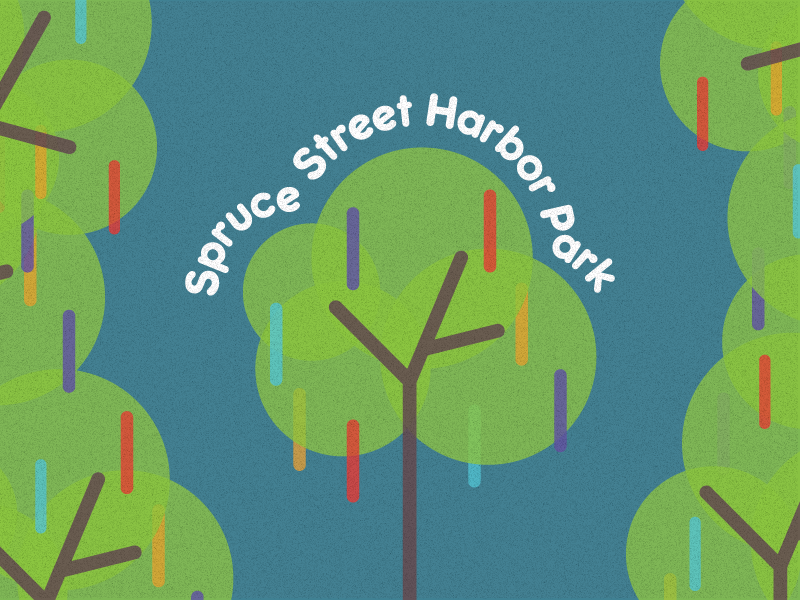 Spruce Street Harbor Park line art typography clean texture design vector logo tree park harbor spruce street poster