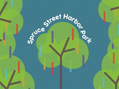 Spruce Street Harbor Park line art typography clean texture design vector logo tree park harbor spruce street poster