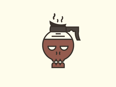 Coffee in (Death) Bed t-shirt design illustrator simple line art vector pot skull coffee