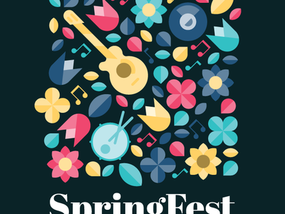 SpringFest flowers poster illustrator vector design music spring