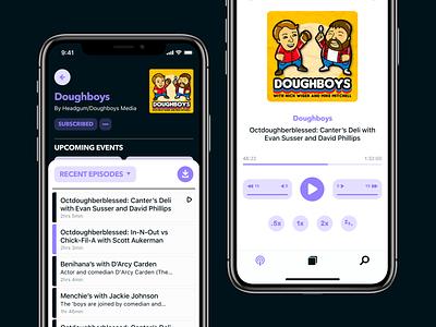 Podify podcast design app listen study sketch mockup iphone design