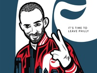 Self-Portrait philly portrait poster vector illustration trace