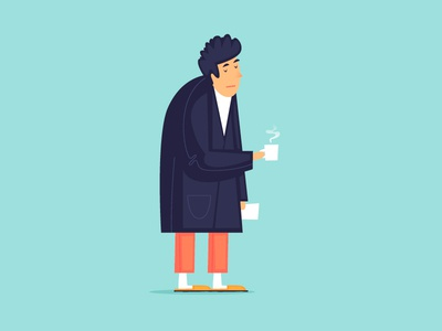 Monday morning man slippers cup of tea vector stress weekend home wake up work week news bathrobe newspaper coffee fatigue character illustration flat monday morning