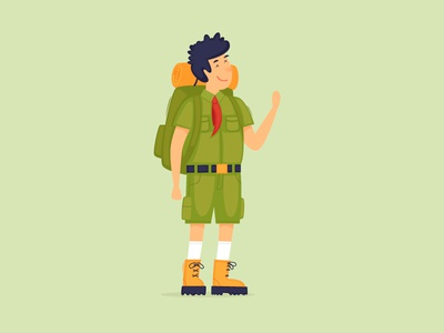 Scout travel people hiking scouting map vector uniform tourist ranger flag child explorer traveler summer boy isolated kid adventure camp scout