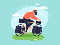Bikepacking illustrator flat planet landscape touring character illustration road cool pedals speed wheel nature sport bicycle tent tourism bicycle trip bikepacking