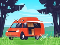 Camping color design illustration flat vector flowers minibus beads recreation machine river sun air grass forest nature camper camping
