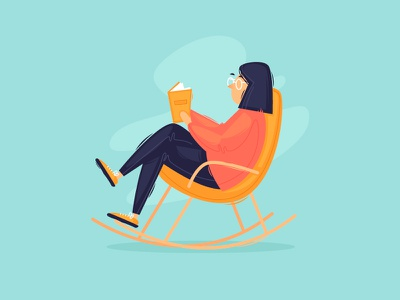 Stay at home books reading ralax rocking chair illustrator color stay at home vector design character illustration flat