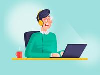 Online chat color freelancing vector design character illustration flat internet business support programmer work from home online business freelance online chat