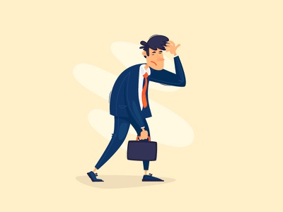 Back to work cartoon 2d vacation suitcase office life hardwork tired suit money document businessman office work workplace business vector character illustration flat back to work