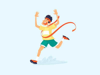 Winner color cartoon best competition man muscle athletic winner runner sport vector design character illustration flat