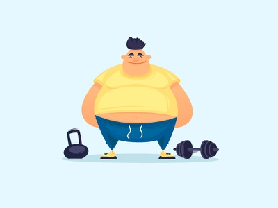 Gym workout weights iron dumbbells exercise color crossfit men summer helth fat cartoon vector character illustration flat muscul fitness sport gym