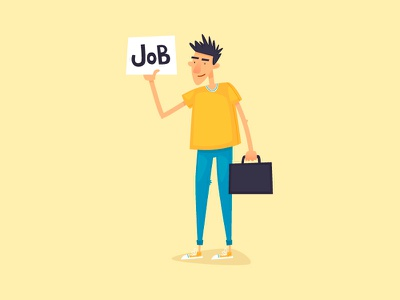 Job search jobs freelancing work cartoon vector illustrator design character illustration flat find job