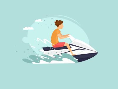 Jet Ski illustration character flat water sport vacation sea sports summer jet ski