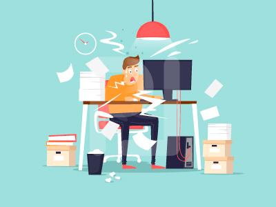 Deadline flat illustration lots of work timing computer character office work tardiness deadline