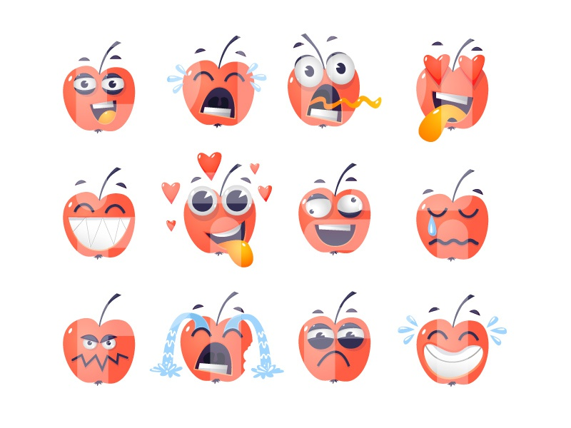 Stickers portrait set mood illustration flat character correspondence messages emotions stickers apple