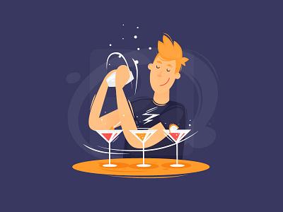 Barman art design freelancing barman color draw portfolio illustrator character flat illustration