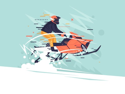 Snowmobile speed race computer draw freestyle modern frost freelancing design extreme vector portfolio color illustrator character winter snow illustration flat snowmobile