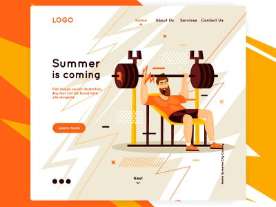 Fitness iron training web page landing page fitness club site gym hard pain muscle fitness center heals sport color illustrator design character illustration flat fitness
