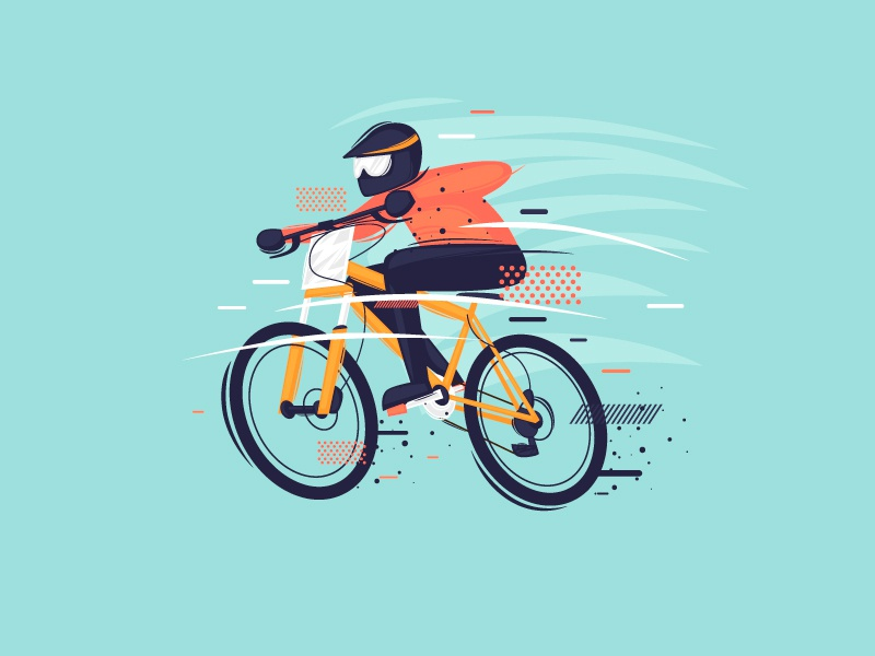 Mountain bike man danger vector cartoon nature mountain forest competition outdoor speed ride bicycle sport color illustrator design character illustration flat mountain bike