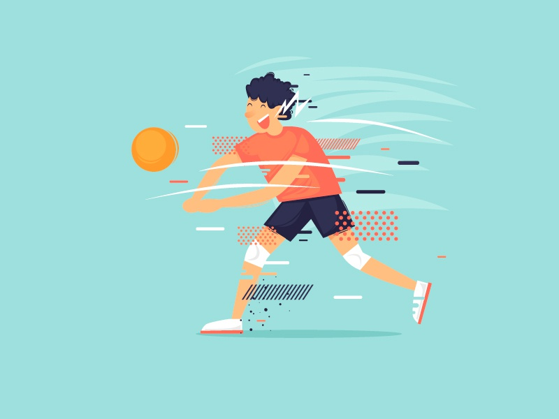 Volleyball portfolio modern art draw summer play man vector color illustrator design character illustration flat game ball athlete competition sport volleyball
