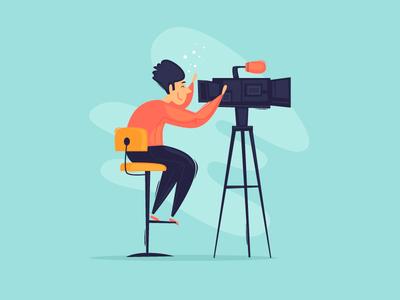 Filming reporting news actors studio clip cartoon design character illustration flat vector camera movie cameraman director broadcast show video filming