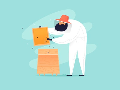 Beekeeper man vector cartoon illustrator design character illustration flat smoke yellow summer fly bite sweetness insects honeycomb beehive bees honey beekeeper