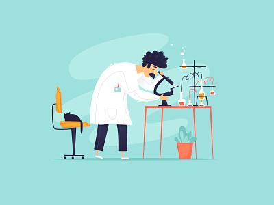 Laboratory biology study vaccine bacteria microscope vector illustrator design illustration flat character chemistry education science flasks molecules medicine analyzes scientist laboratory