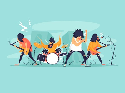Rock concert sound speakers microphone design character illustration flat bass music song sing soloist drums loud metal guitar rock band musicians rock concert