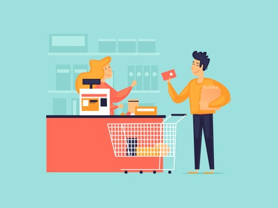 Cashier woman vector man design character illustration flat fruits money food products trolley buyer seller card cash payment purchases shop cashier