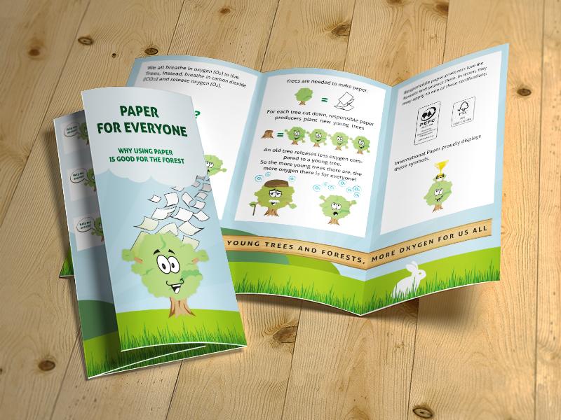 School Project Trifold editorial mascotte school kids fold graphic design brochure trifold