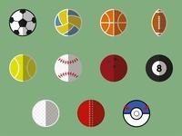 Flat icons sport balls