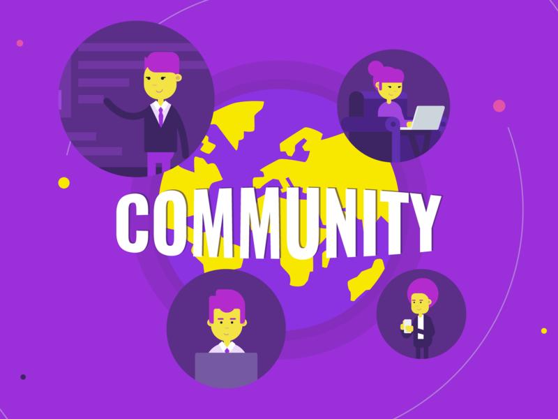 Rita.global - community website platform connected network community design motiongraphics character gif animation illustration vector