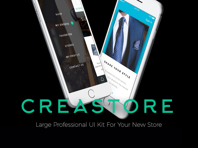 Meet Creastore UI Kit basket purchase shop storefront sketch freebie free psd ecommerce ui kit free store