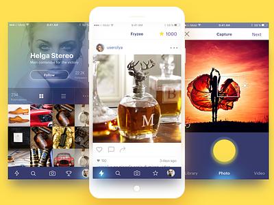 Fryzee App profile capture photo instagram dashboard feed app