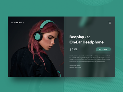 ICEDEVICE ecommerce product card sketch psd mockup interface headphone green freebie dashboard