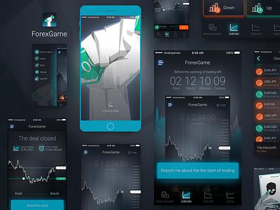ForexGame gameplay splash onboarding money mockup interface freebie free forex dashboard