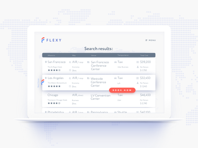 Flexy Booking product booking search result flight app clear flight booking map reservation travel ui conference