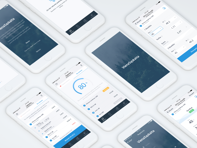 Viena sąskaita iOS app design clean simple design app ios