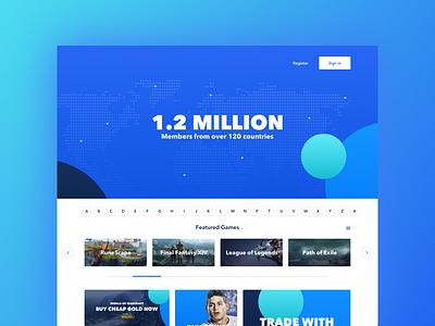 Game landing page desing web design white dark blue clean simple landing gaming