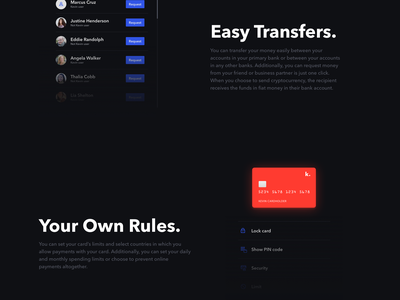kevin. Financial Services Landing Page landing page banking bank transfers crypto services finance ux ui dark