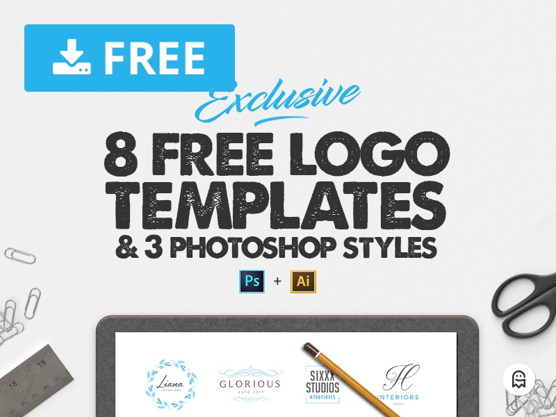 8 Free Logo Templates & 3 Photoshop Styles graphics ai psd free freebie premade branding template design download logos graphicghost