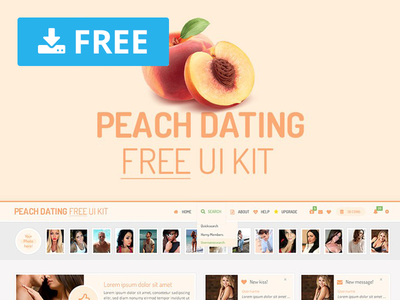 Peach Dating Free Ui Kit webdesign website freebie free psd template download wireframe design interface ux ui