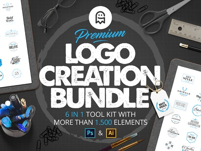Premium Logo Creation Bundle psd ai download graphics elements tool free deal kit creator branding logo