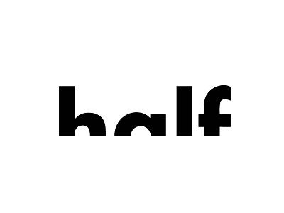 Typography concept of Half logo ecommerce websites psd vector visualise fibonacci stationary identity illustration graphics branding logo