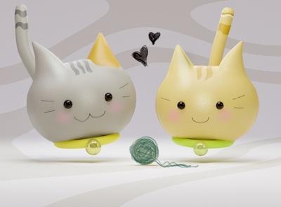 Whiskey and Peanut the kittens art design animals illistration procreate apple pencil blender3d 3d cute cat kittens