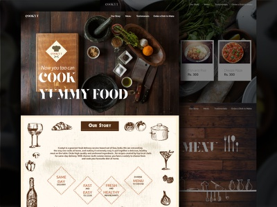 Cookyt webpage vintage rustic illustrations pencil delivery food ui story cook