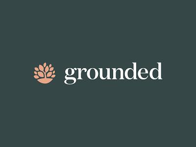 Grounded Logo branding earthy tree leaves mark natural organic identity serif wordmark brand design logo