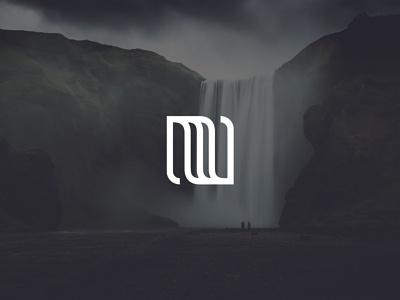 Waterfall Mark symbol branding concept minimalist monoline linear waterfall mark logo logo design branding